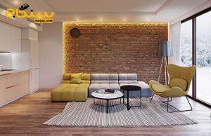نمای داخلی ساختمان با آجر سنتی